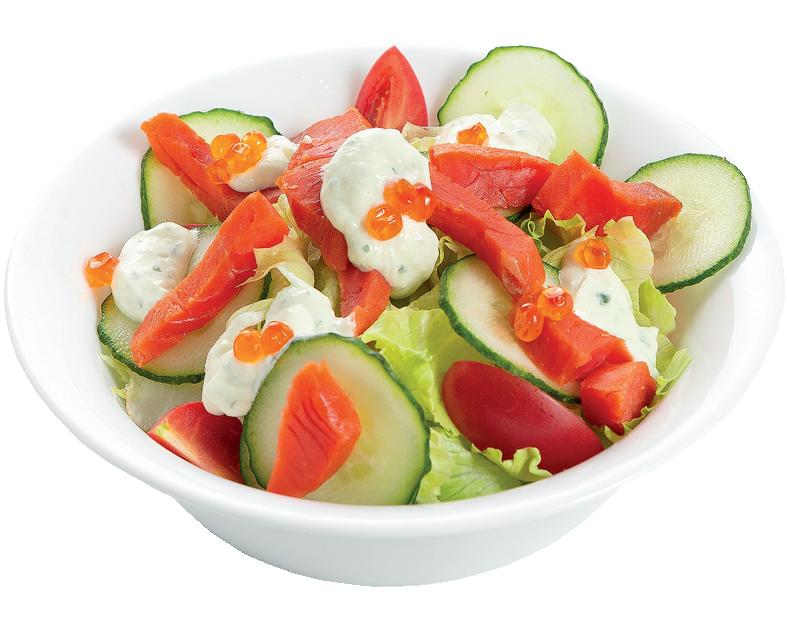Салат с неркой и красной икрой